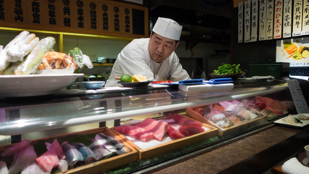 Dinner at a sushi restaurant in Ginza, Tokyo,